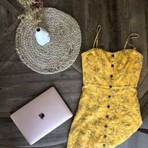 UO Yellow Floral Fit and Flare Dress